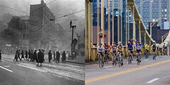 Pedestrians crossing the street in smoky, old Pittsburgh juxtaposed with cyclists in current day downtown Pittsburgh.